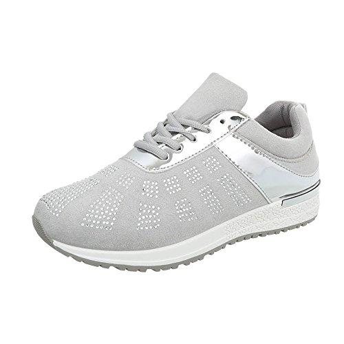 Damen Schuhe Freizeitschuhe Sneakers Hellgrau 41 X4p0myT