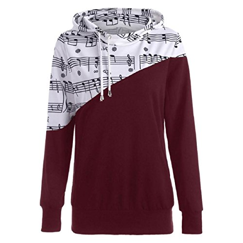 Herringbone Cuffed Short (WILLTOO Womens Hoodeds Musical Note Long Sleeve Patchwork Blouse Tees Sweatshirt Plus Size Tops (Red, S))