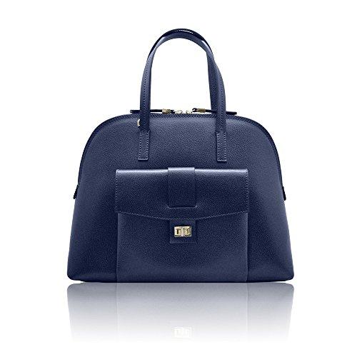 GEMMA Italian Shoulder Satchel bag shoulder strap compartment handbag outside pocket stiff leather - Inspired By Louis Vuitton
