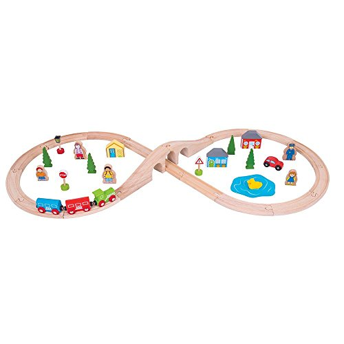 Bigjigs Rail Wooden Figure of Eight Train Set - 40 Play Pieces - Other Major Rail Brands are Compatible
