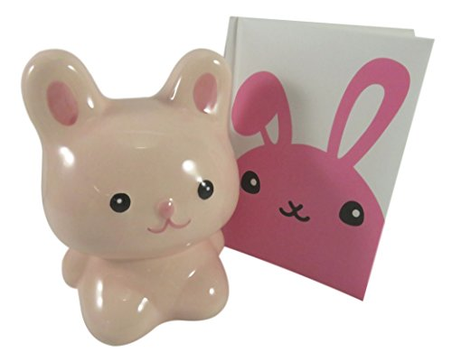 Adorable Rabbit Bunny Savings Bank Ceramic With Rabbit Pocket Notebook Journal Diary Pink White (Bundle of 2)