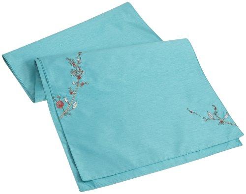 (Lenox Chirp Embroidered 70-Inch Runner, Aqua)