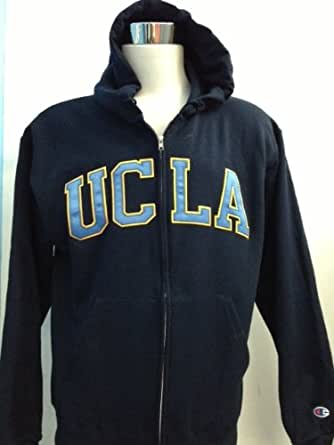 Champion UCLA Hooded Full Zipper Sweatshirt (Large, Navy / Collegiate Blue & Gold)