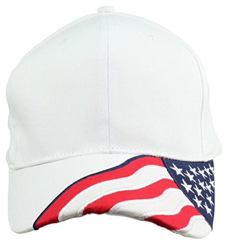 ImpecGear 2 Packs American Flag Patriotic Flag Baseball Cap/Hat in Red, White and Navy Blue Stars and Wavy Stripes (2 Pack for Price of 1) (FLAB.B-White) Blue Stripe Wool Hat