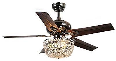 "Whse of Tiffany CFL-8110 Crystal 5 Blade Angel 3-Light Chandelier Ceiling Fan, 43"", Bronze"