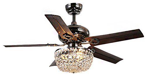 Whse of Tiffany CFL-8110 Crystal 5 Blade Angel 3-Light Chandelier Ceiling Fan, 43