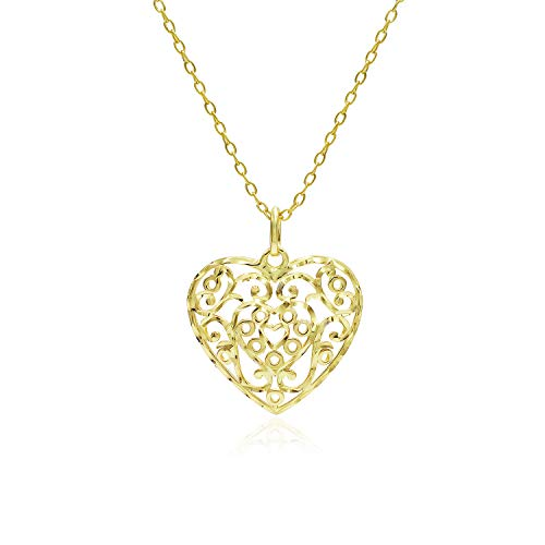 (Yellow Gold Flashed Sterling Silver Diamond-Cut Filigree Heart Pendant Necklace)