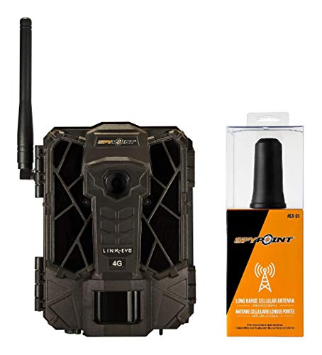 SPYPOINT Link-EVO-V Cellular Trail Camera, 4G/LTE (VERIZON), 12MP HD Video, High Power LEDs&Infrared Boost Tech, 0.3s Trigger Speed, 80′ Detect&90′ Flash, Easy Setup (Link-EVO-V + CA-01 Cell Antenna)