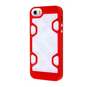 Generic Thinklink 2 In 1 Puzzle Maze Mixed Color Soft TPU Silicone And Hybrid Plastic Back Cover Case Compatible for iPhone 5 5S 5G White Silicone Red Back