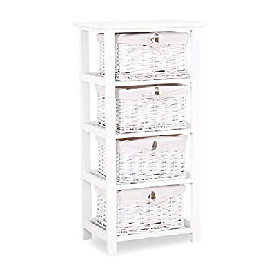 Mecor White Nightstand Dresser Storage Tower - 4 Wicker Drawers Storage Shelf - Paulownia Wood Side Tables/End Tables - Perfect for Bedroom Bathroom Living Room Dormitory