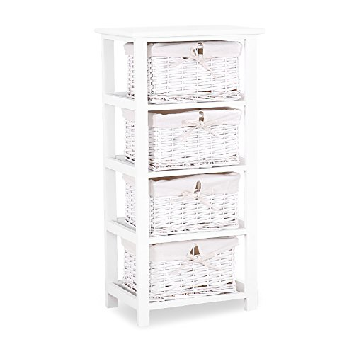 Cheap Mecor White Nightstand – 4 Wicker Drawers Storage Shelf – Paulownia Wood Side Tables/End Tables – Perfect Bedroom Bathroom Living Room Dormitory,White