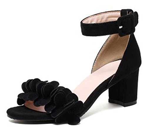 Mofri Women's Sweet Faux Suede Flowers Buckled Ankle Strap OL Work Shoes Medium Block Heel Sandals (Black, 4 B(M) US) ()