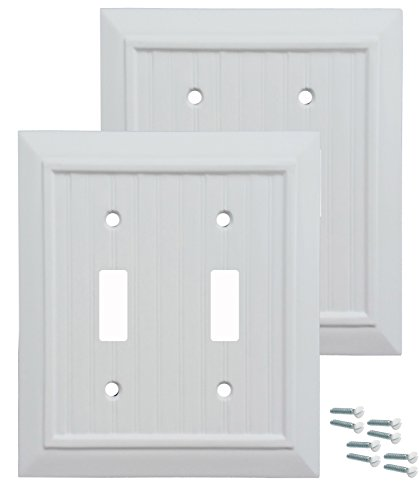 (Pack of 2 Wall Plate Outlet Switch Covers by SleekLighting | Classic Beadborad Wall plates| Variety of Styles: Decorator/Duplex/Toggle/Blank / & Combo | Size: 2 Gang Toggle)