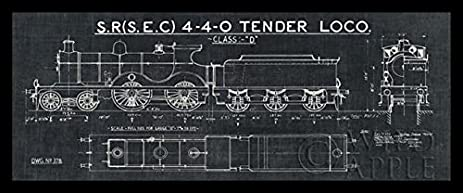 Amazon framed train blueprint ii in black 20x8 art print framed train blueprint ii in black 20x8 art print poster wall decor locomotive sr malvernweather Gallery