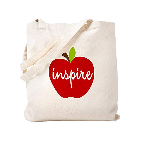 CafePress Inspire Apple Natural Canvas Tote Bag, Cloth Shopping Bag