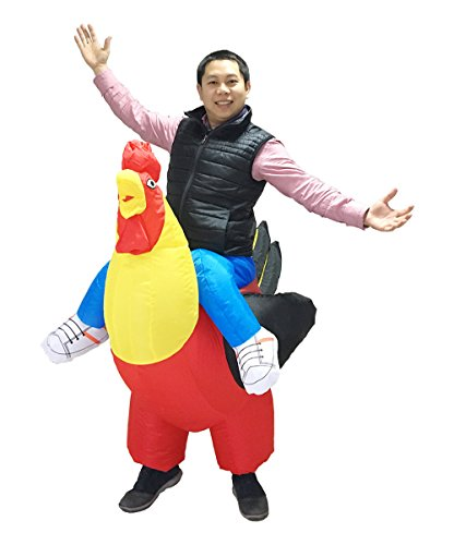 [Luckysun Adult Chicken Rooster Inflatable Costume Blowup Mascot Outfit Fancy Dress] (Man Riding Chicken Costumes)