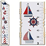 Growth Chart Nautical Ocean Boat Whale Anchor Wall Decals Vinyl Sticker Red White Blue Kid Height Measurement Children Nursery Baby Room Decor Boys Bedroom Decorations Child Measure Growing Babies Art