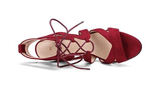 Carre UH Talons Bordeaux Classique Ouvert Sandales Laniere Suede Moyen à de et Slingback Bout en Mode Cheville Femmes r8qvTr