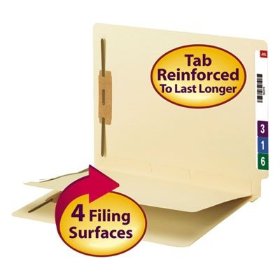 Smead End Tab Fastener File Folder with Divider, Shelf-Master Reinforced Straight-Cut Tab, 2 Fasteners, 1 Divider, Letter Size, Manila, 50 per Box (34220) - Manila Divider