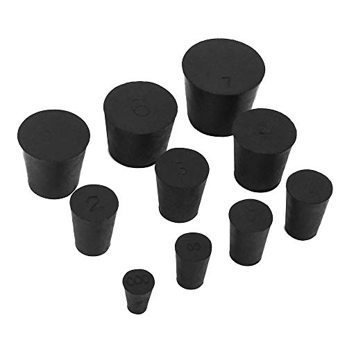 - 19 Pack (10 Assorted Sizes) 000# -7# Solid Rubber Stoppers