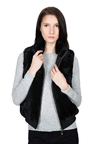 OBURLA Women's 100% Real Rex Rabbit Fur Vest - Warm Sleeveless Fur Jacket with Zipper and Genuine Leather Accent (Black, ()