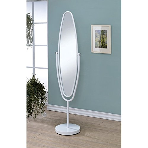 Furniture of America Clarice Oval Metal Cheval Mirror in White