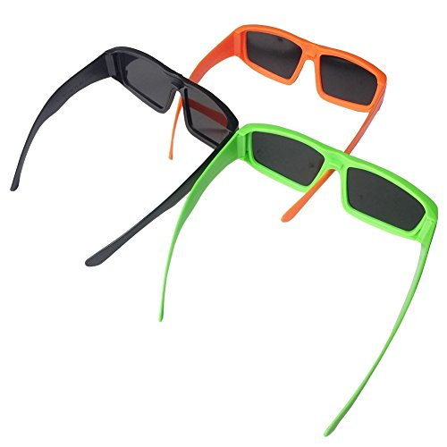 Plastic Solar Eclipse Glasses CE and ISO Certified For Direct Sun Viewing -Viewer and Filter - Eye Protection- Black/Green/Orange(3 Pack )