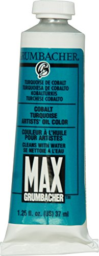 Grumbacher Max Water Miscible Oil Paint, 37ml/1.25 oz, Cobalt Turquoise