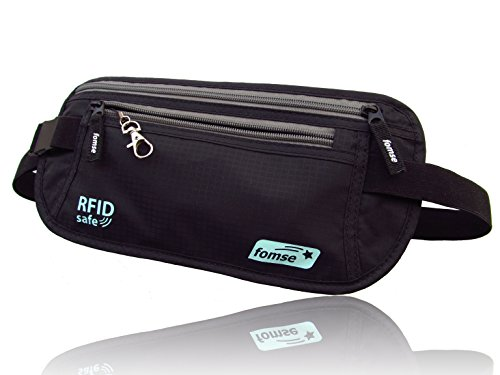 Money-Belt-black-with-keyGuard-undercover-RFID-safe-passport-and-credit-card-holder-waist-stash-with-25-60-inches-belts-size-convenient-hidden-travel-wallet-for-men-women