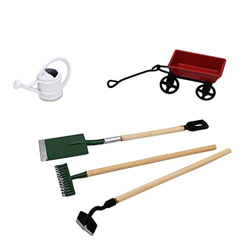 NszzJixo9 Artificial 1/12 Miniature Dollhouse Wooden Black Fairy Garden Equipment Tools, Watering Can Red Cart Toy Dollhouse Miniature Dollhouse Set