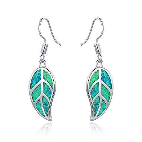 Barzel White Gold Plated Created Green Opal Leaf Drop Earrings (Silver Turquoise)