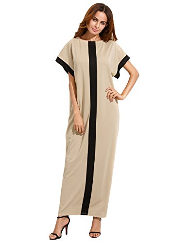 04555154d2b ... Casual Loose Maxi Dress Black Grey M · Verdusa Women s Summer Short  Sleeve Color Block Pocket Shift Long Maxi DressCoffee L