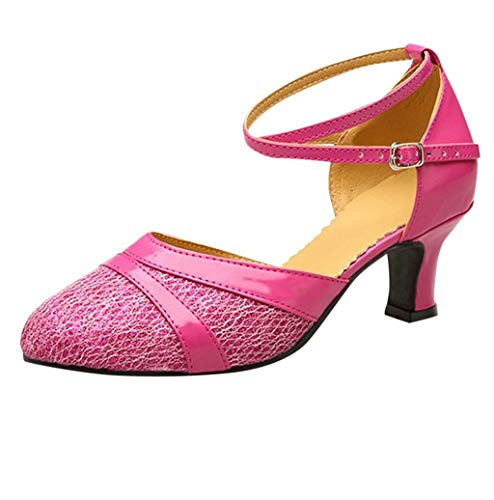 (Photno ❤❤ Women's Latin Ballroom Moden Dance Shoes Glitter Leatherette/Sequins Closed Toes,Model X6-CL Hot Pink)