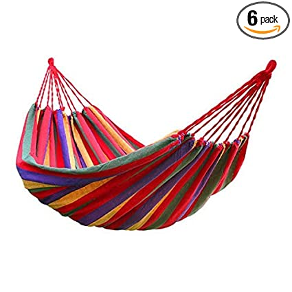 Camp Sleeping Gear Practical Portable Camping Sleeping Bag Hammock Outdoor Hammock Garden Sports Home Travel Camping Swing Canvas Stripe Hang Bed Hammock