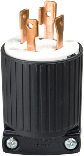 EATON L1430P Locking Electrical Plug, 125/250 V, 30 A, 3 P, 4 W, Black And White
