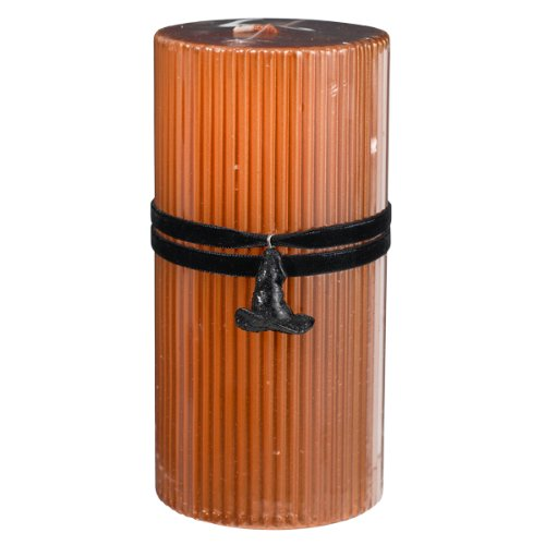 Grasslands Road All Hallow's Eve Metallic Orange 6-Inch Pillar with Witch Hat Charm