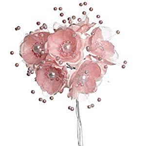 Party Favors Plus 36 Wedding Bridal Pearl Satin Organza Flower Favor Pick - Mauve/Dusty Rose 112
