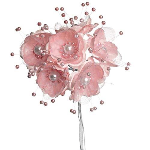 Party Favors Plus 36 Wedding Bridal Pearl Satin Organza Flower Favor Pick - Mauve/Dusty Rose