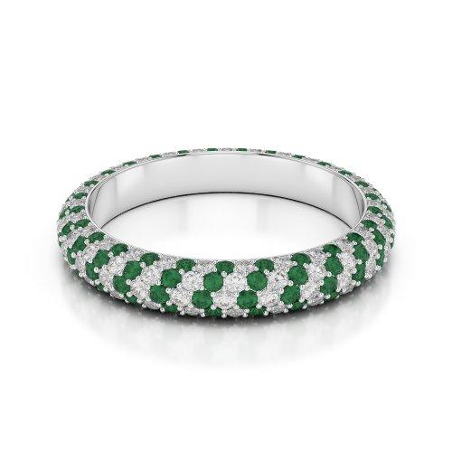 Or blanc 18carats 1,50CT G-H/VS sertie de diamants ronds découpé Émeraude et bague éternité Agdr-1116