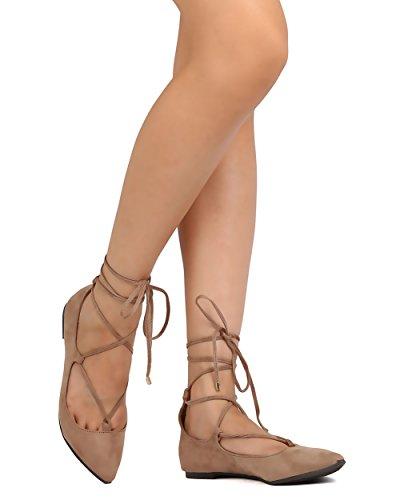 Breckelles Fh77 Donna Faux Suede Punta A Punta Pizzo Allacciatura Alla Caviglia Balletto Piatto Naturale