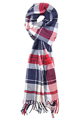 Achillea Scottish Tartan Plaid Cashmere Feel Winter Warm Scarf Unisex (Red White (Red White And Blue Outfits)
