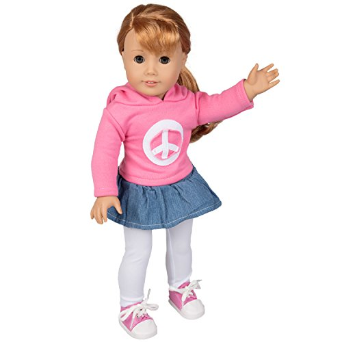 Dress Along Dolly Peace Doll Outfit for American Girl Dolls - 4pcs Outfit (Includes Skirt, Sweatshirt, Leggings,and Sneakers) -