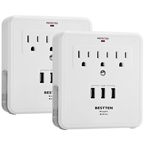 [2 Pack] BESTTEN Wall Tap Adapter Outlets, 3 Electrical Sockets and 3 USB Charging Ports (3.1 Amp Shared), 300-Joule Surge Protector with Dual Phone Holders, ETL Certified, White