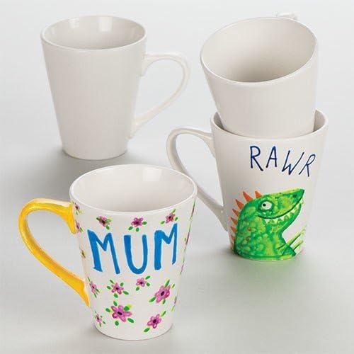 Baker Ross diseña tus propias tazas grandes de porcelana contemporáneas (paquete de 4) para que los niños decoren: Amazon.es: Juguetes y juegos