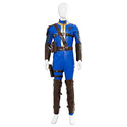 Hibuyer Men's Sole Survivor Nate Vault 111 Vault 76 Adult Jumpsuit Halloween Cosplay Costume Outfit Blue (X-Small, 76)]()