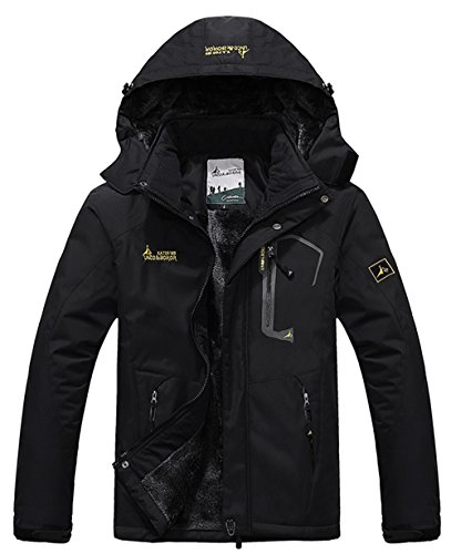 YXP Men's Mountain Waterproof Ski Jacket Windproof Rain Jacket Black