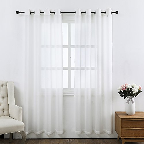 Colokey Sheer Curtain Panel Single Panel For Bedroom Living Room Balcony Curtain,White,52x95-inch,1 Panel