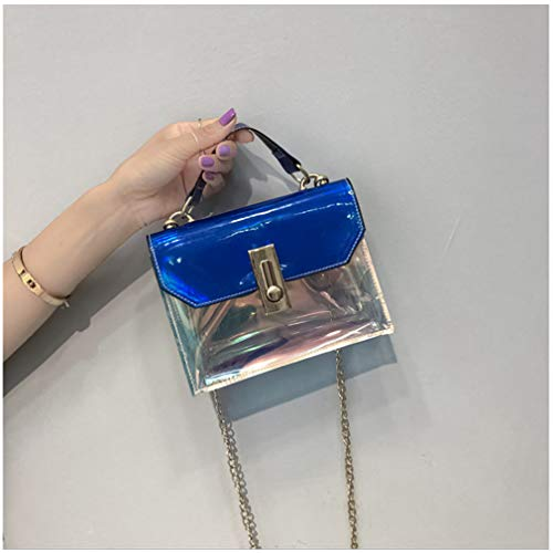 Hombros Transparente de para Bolso con Cruzados Silver Blue Mujer Mano qfYx6