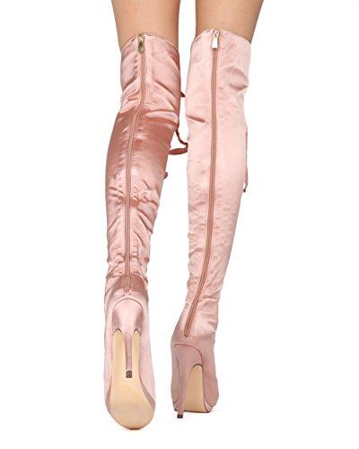Alrisco Kvinnor Lår Höga Stilett Boot - Peep Toe Snörning Boot - Cosplay Dräkt Sexig Dressat Parti Otk Boot - He06 Av Liliana Samling Champagne Satin