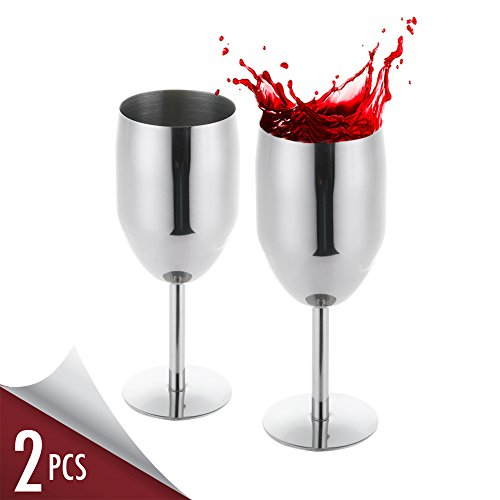 Stainless Steel Wine Glass Set for White Red Wine Cocktail Glasses with Stem - 2pcs 8oz Dishwasher Safe No BPA Goblet Cup - Elegant for Housewarming Travel Outdoor Camp Picnic (Stem Wine Goblet)